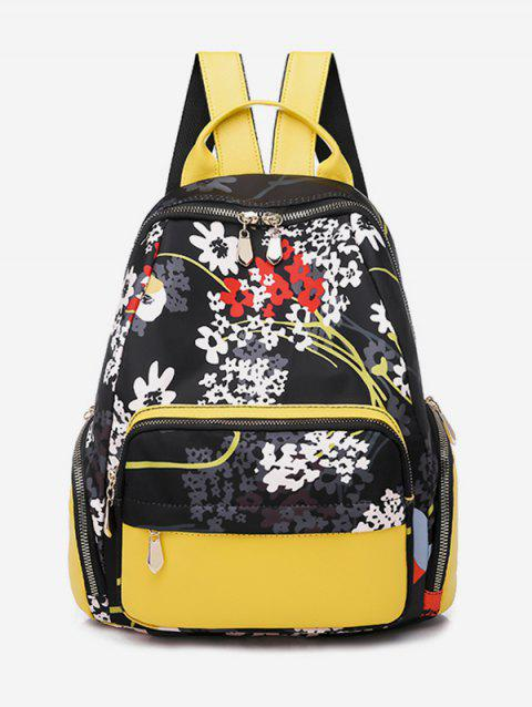 Flower Pattern Tourism Backpack - YELLOW