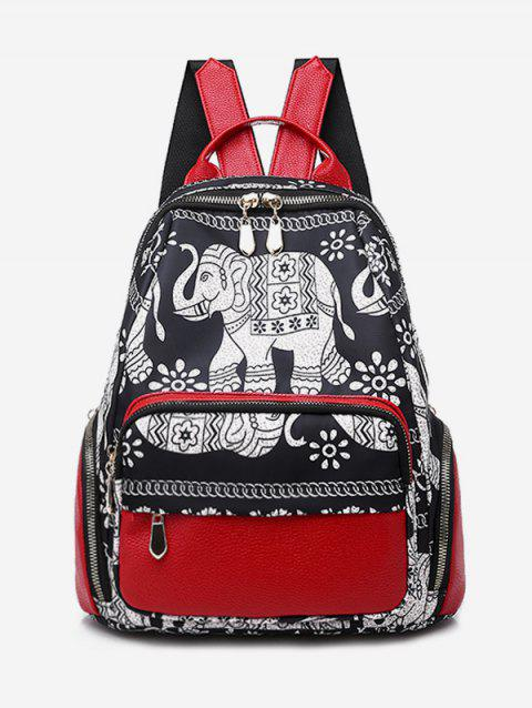 Flower Pattern Tourism Backpack - RED