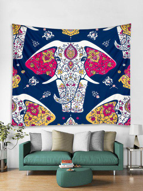 Flower Elephant Print Tapestry Wall Hanging Art Decoration - multicolor W71 X L79 INCH