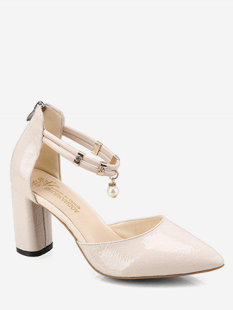 Pointed Toe Pumps with Faux Pearl - BEIGE EU 39