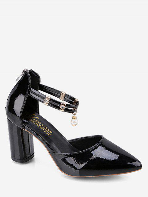 Pointed Toe Pumps with Faux Pearl - BLACK EU 37