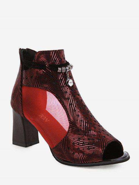 Peep Toe Mesh Panel Pumps - RED WINE EU 37