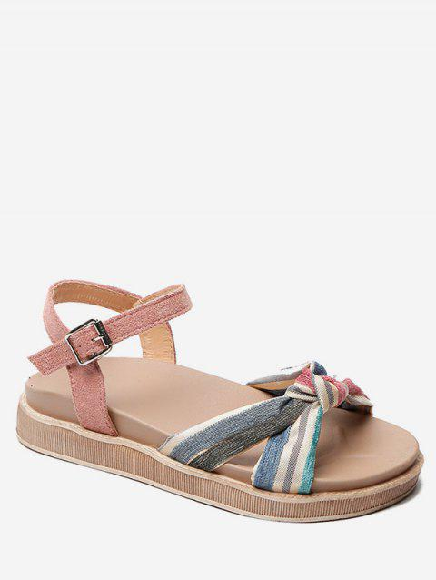 Striped Knot Ankle Strap Sandals - LIGHT PINK EU 37