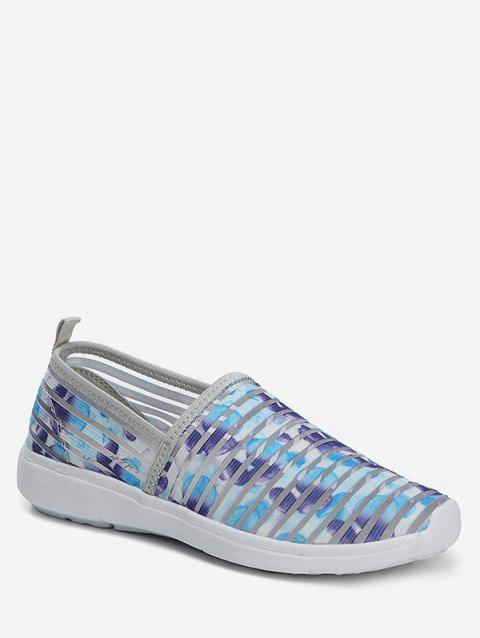 Striped Breathable Casual Flat Shoes - BLUE EU 42