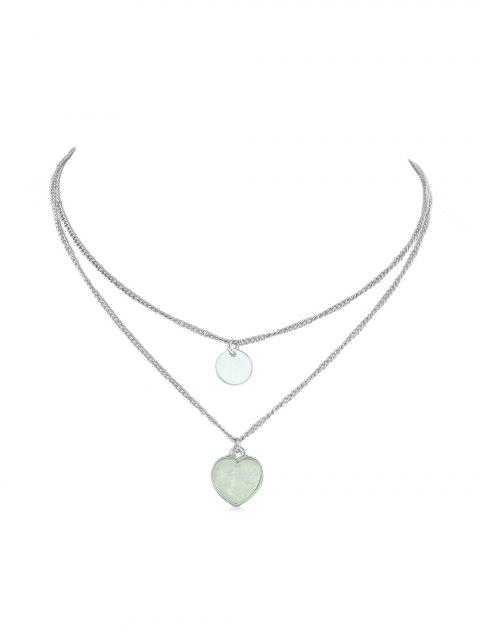Heart Pendant Double Layer Necklace - SILVER
