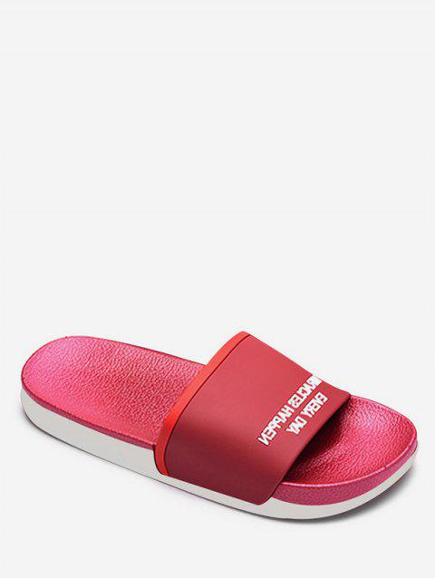 Contrast Letter Flat Slippers - RED EU 37