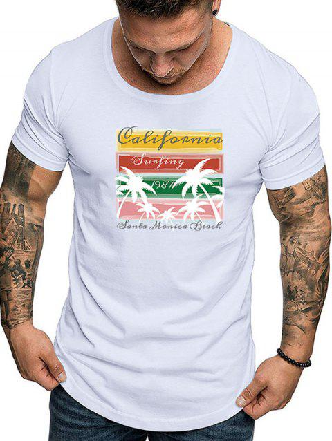 Casual Graphic Print Short Sleeves T-shirt - WHITE M
