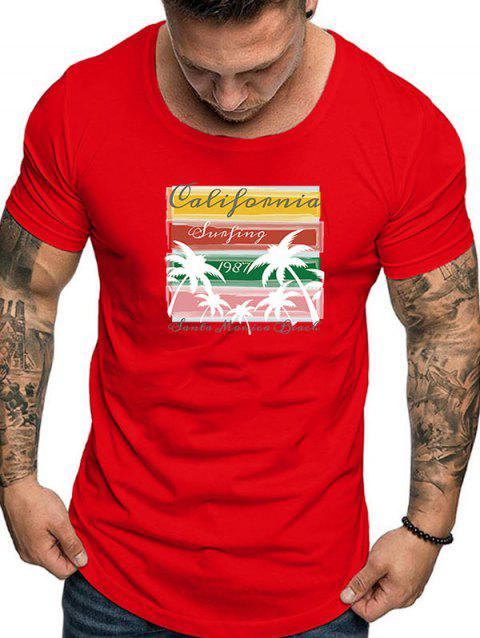 Casual Graphic Print Short Sleeves T-shirt - LAVA RED M