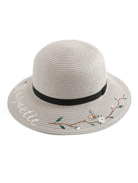 Flower Letter Embroidery Straw Hat - LIGHT GRAY