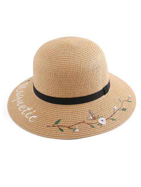 Flower Letter Embroidery Straw Hat - CAMEL BROWN