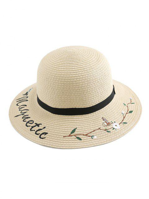 Flower Letter Embroidery Straw Hat - WARM WHITE