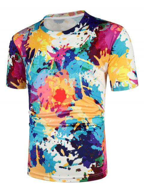 Splatter Printed Casual Short Sleeves T-shirt - multicolor A 2XL