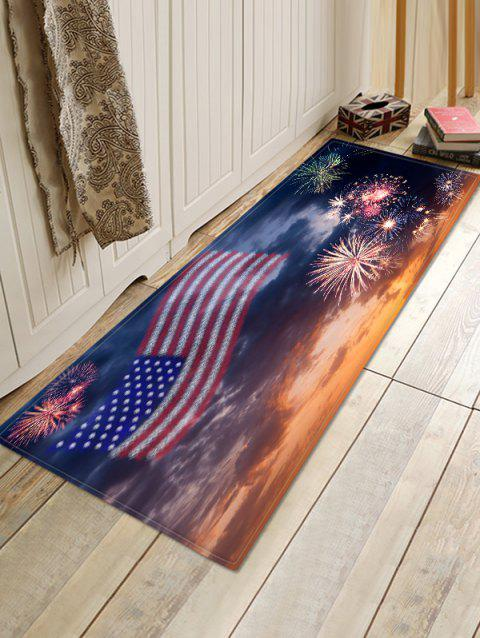 American Flag Firework Pattern Water Absorption Area Rug - multicolor W16 X L47 INCH