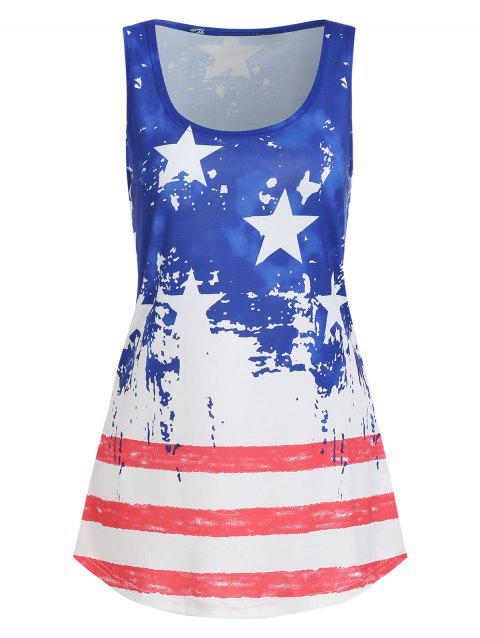 Sleeveless American Flag Print Top - multicolor C 2XL