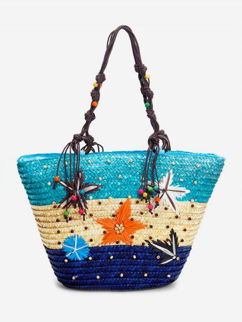 Large Capacity Straw Tote Bag - BABY BLUE