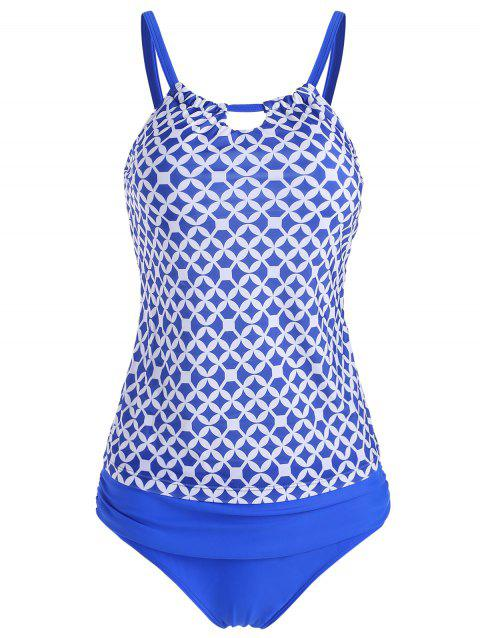 Ruched Geometric Print Tankini Set - BLUE 2XL