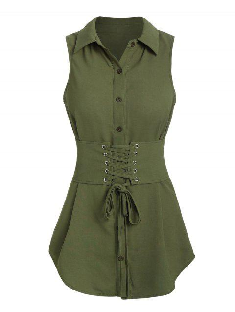 Belted Lace-up Sleeveless Blouse - ARMY GREEN 2XL