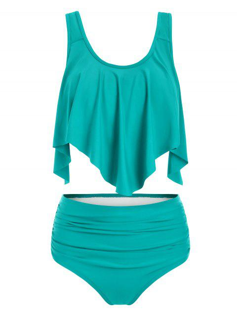 Solid Ruffles Layered Tankini Set - MEDIUM TURQUOISE XL