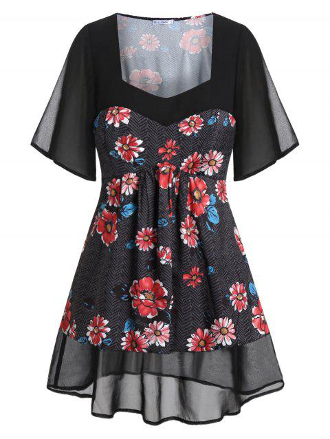 Plus Size Sweetheart Neck Floral Blouse - BLACK 5X