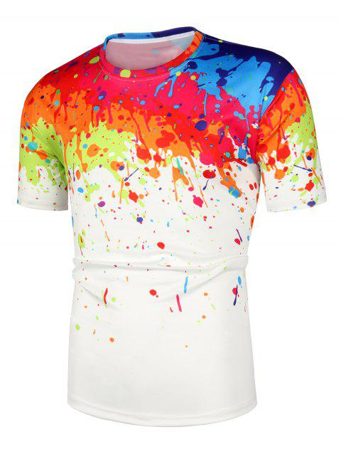 Painting Printed Short Sleeves Casual T-shirt - WHITE M