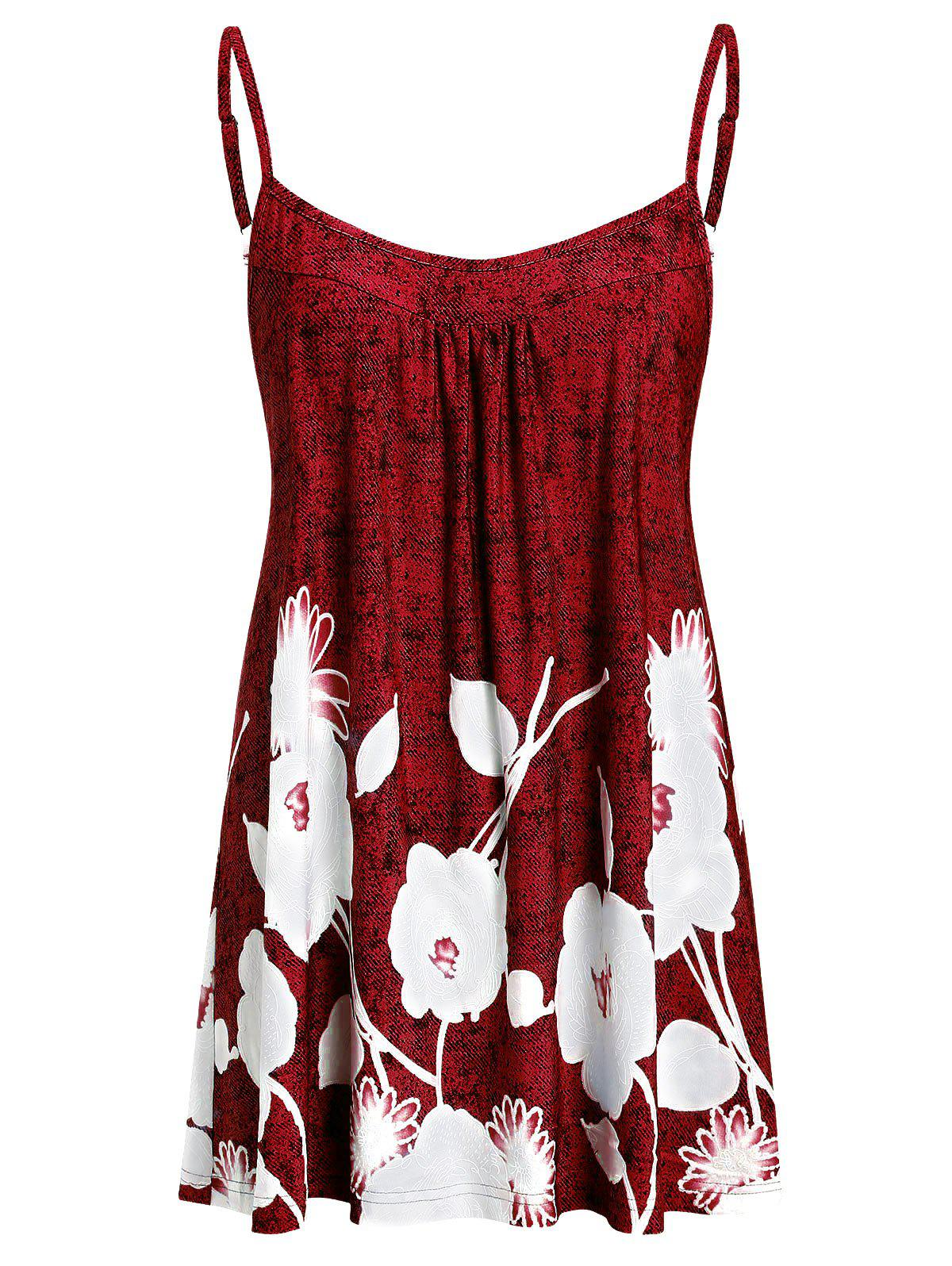 Plus Size Printed Flare Cami Tank Top - RED WINE L