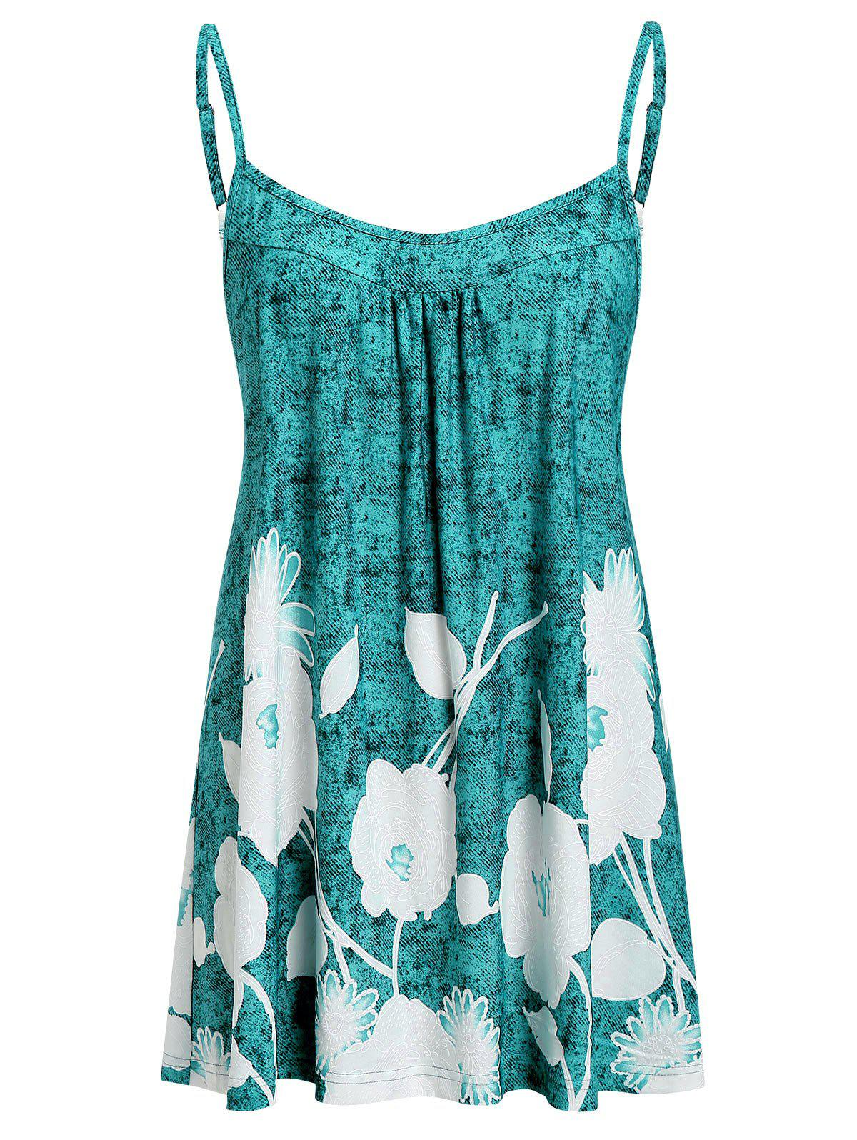 Plus Size Printed Flare Cami Tank Top - MEDIUM TURQUOISE 4X