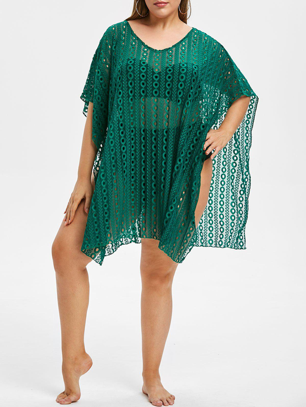 Plus Size Crochet Lace Batwing Cover Up - MEDIUM SEA GREEN ONE SIZE