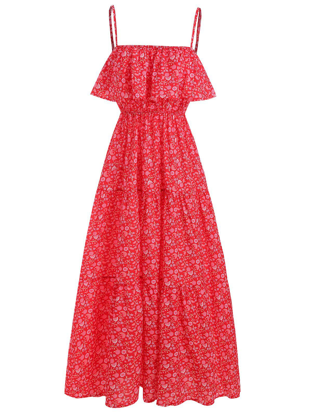 Floral Print Overlay Maxi Cami Dress - RED S