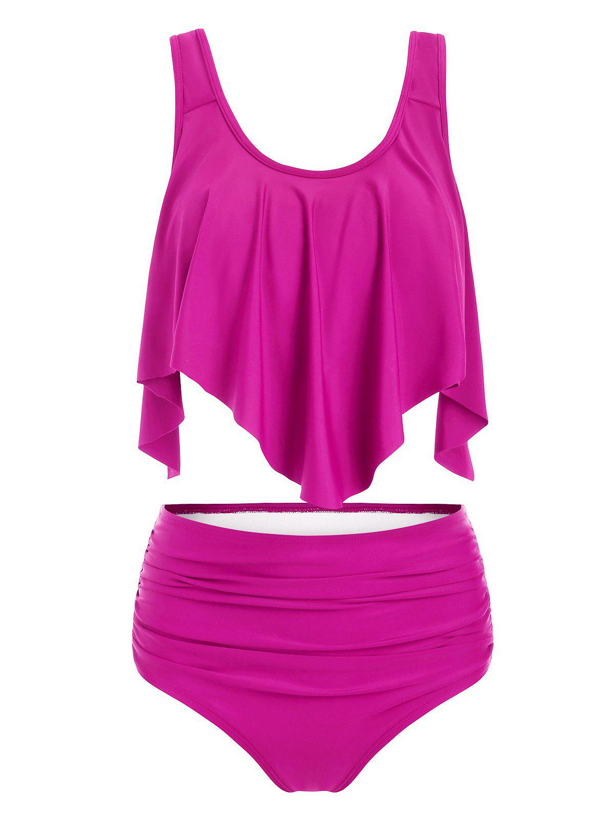 Solid Ruffles Layered Tankini Set - NEON PINK 3XL