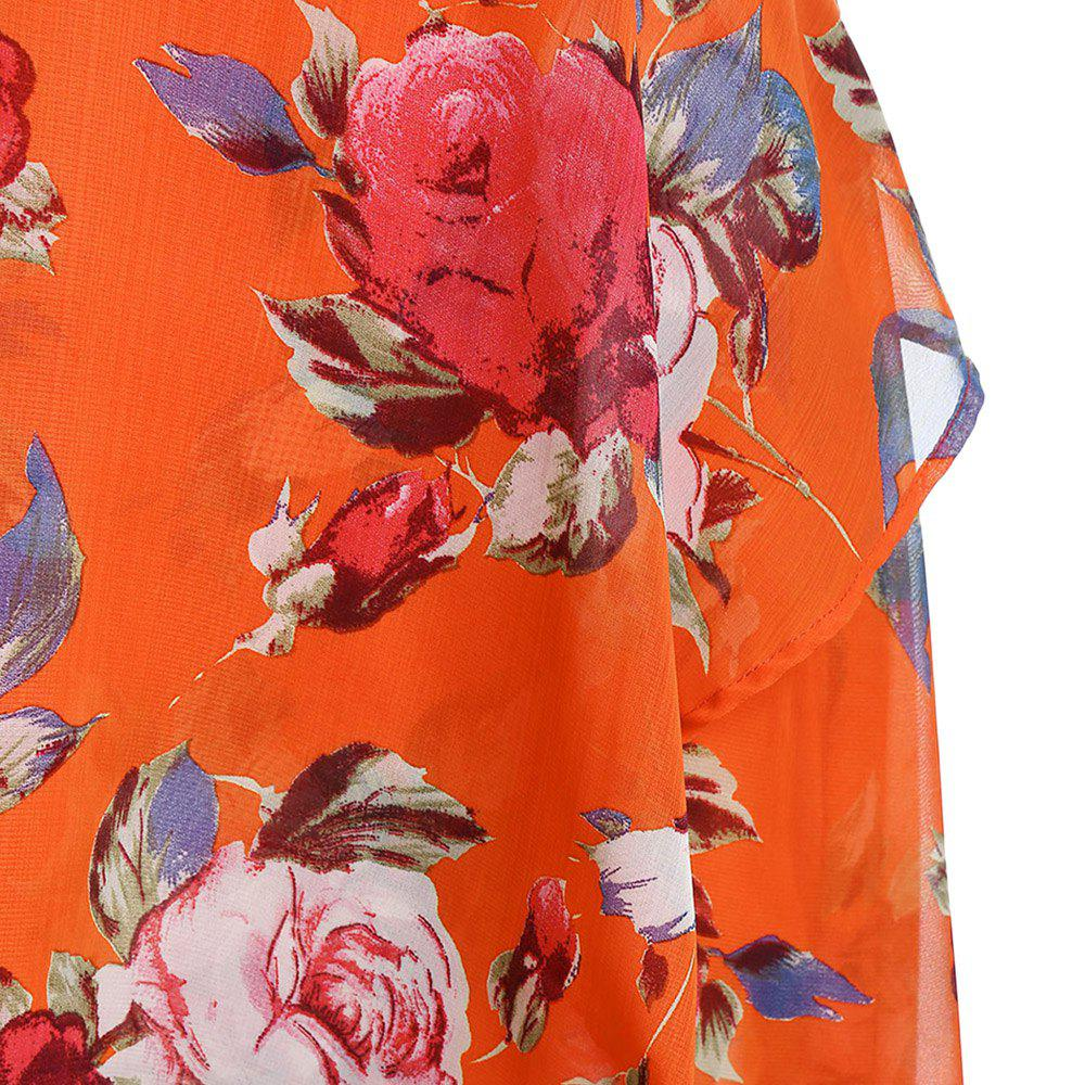 Plus Size Floral Overlay High Low Dress, Bright orange