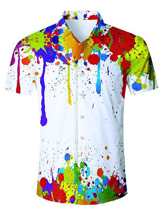 Painting Print Short Sleeves Shirt - WHITE L