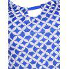 Ruched Geometric Print Tankini Set - BLUE L