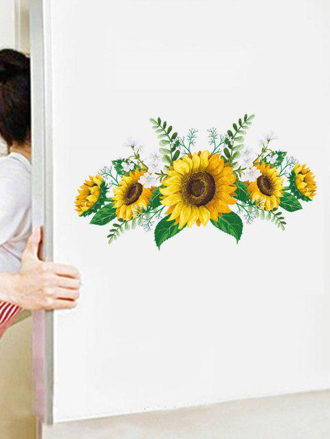Sunflower Print Removable Wall Art Sticker - multicolor