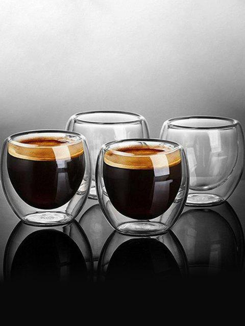 4 Pcs 80ML Double-layer Insulation Coffee Cup Glass Set - TRANSPARENT