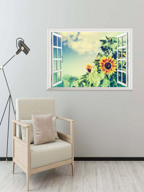 3D Sunflower Print Wall Sticker - multicolor