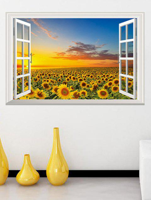Window Sunset Sunflower Print Removable Wall Art Stickers - multicolor