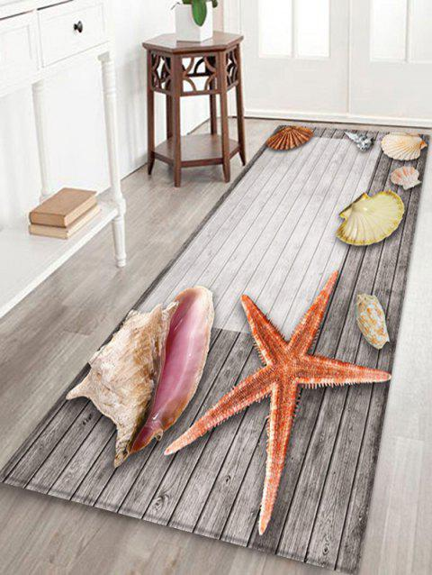 Wooden Starfish Shell Design Floor Mat - GRAY CLOUD W16 X L47 INCH