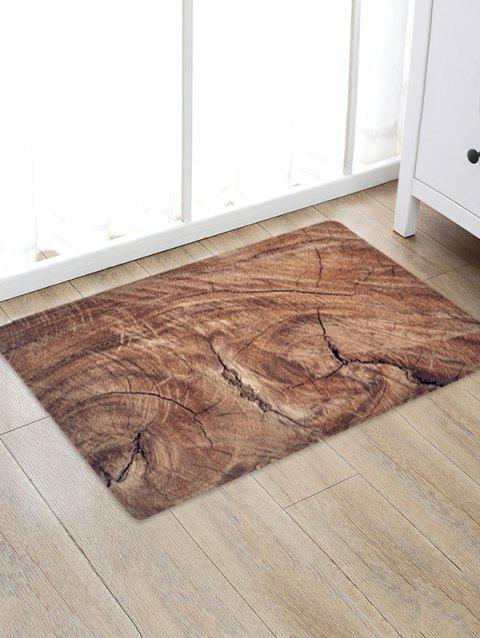 3D Wood Grain Flannel Bath Rug - CAMEL BROWN W20 X L31.5 INCH