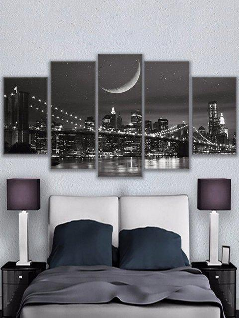 Night City Bridge Print Unframed Split Canvas Paintings - BLACK 1PC X 8 X 20,2PCS X 8 X 12,2PCS X 8 X 16 INCH( NO