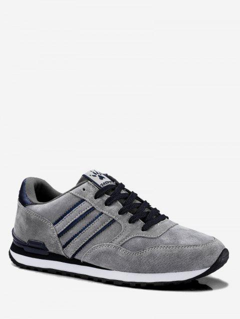 Casual Striped Suede Sneakers - GRAY EU 44