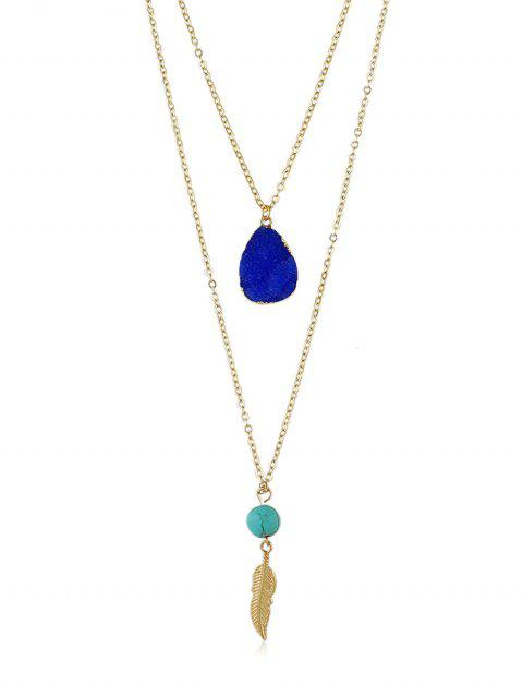 Feather Stone Decoration Chain Necklace - BLUE