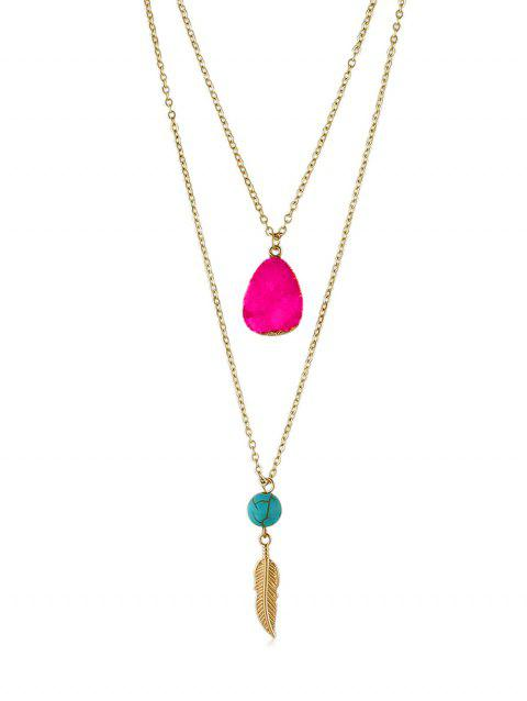 Feather Stone Decoration Chain Necklace - ROSE RED