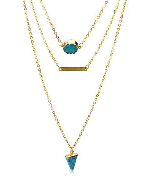 Multilayered Natural Stone Turquoise Necklace - GOLD