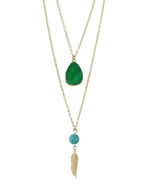 Feather Stone Decoration Chain Necklace - DEEP GREEN