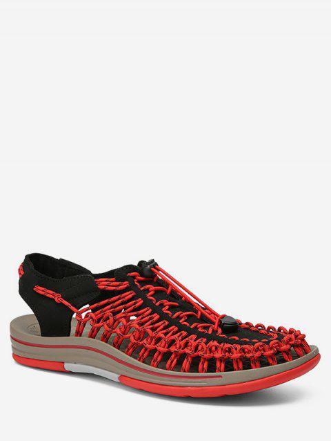 Braided Hollow Out Beach Sandals - RED EU 42