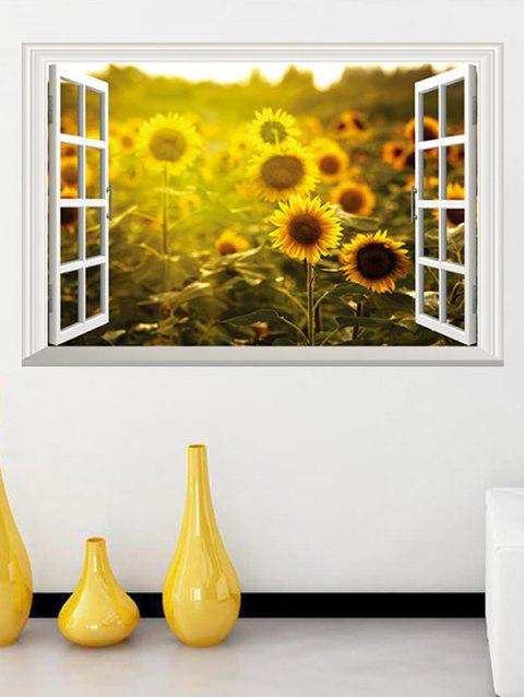 Window Sunflower Field Printed Removable Wall Art Stickers - multicolor
