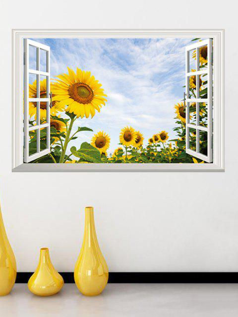 Window Sunflower Print Removable Wall Art Sticker - multicolor 20 X 28 INCH