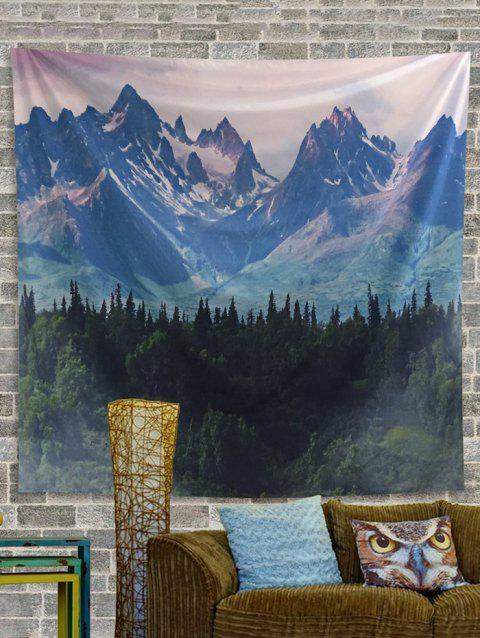 Forest and Mountains Print Tapestry Wall Hanging Art Decoration - BLUE IVY W59 X L79 INCH
