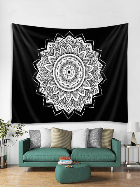 Flowers Printed Tapestry Wall Hanging Art Decor - BLACK W51 X L59 INCH