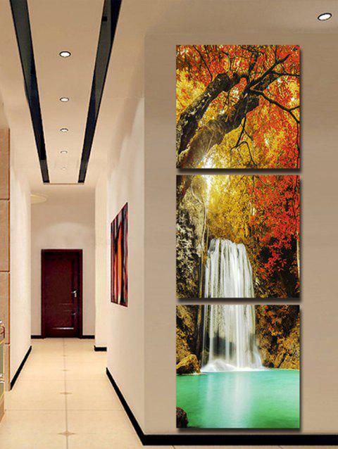 Maple Forest Waterfall Pattern Unframed Split Canvas Paintings - multicolor 3PCS X 12 X 12 INCH( NO FRAME )